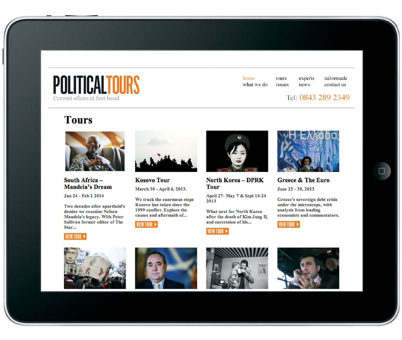 Website Design for Travel Company Political Tours