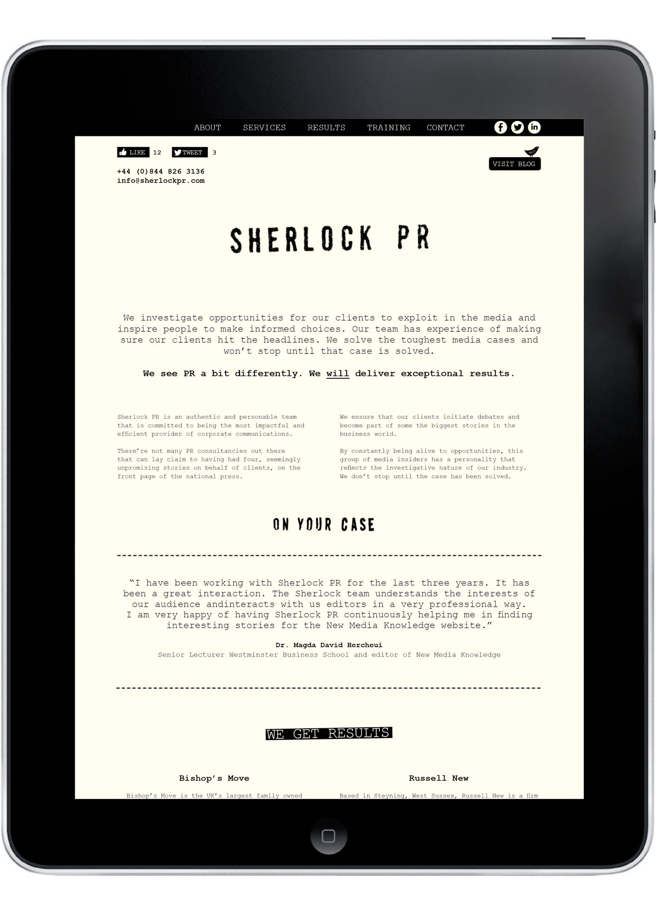 Rebranding for Brighton based PR Consultancy - Website Design