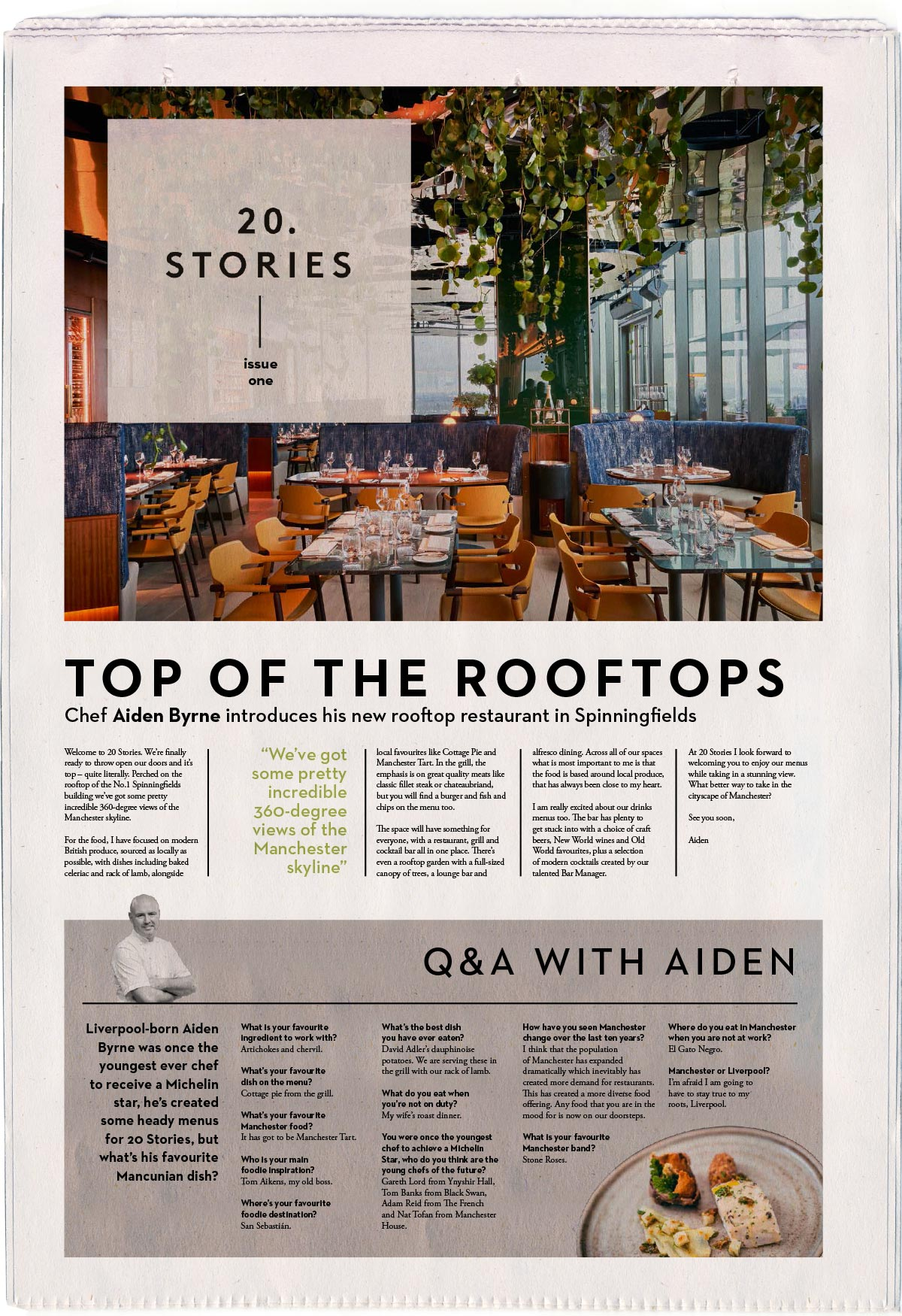 Newspaper Design for 20 Stories Restaurant